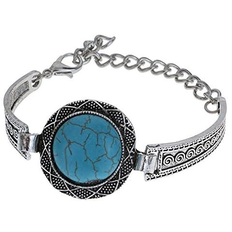 YAZILIND Women Boho Bijoux tibétain Perle Fleur Argent Turquoise Inlay