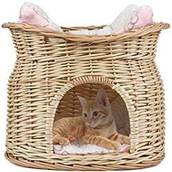LosyPet Lit Panier en Osier pour Chat et Petit Chien Corbeille Niche Osier avec Coussin en Peluche à Deux Etages Lit Ovale pour Animaux domestiques