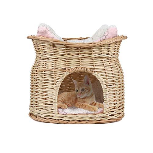 UKMASTER LOSY PET Katzenhöhle handgemachte Katzenkorb Katzenbett aus Weide Hundehöhle Hundekorb 43x32x35cm