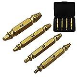 DingLong 4Pcs Doppelkopf-Screw-Extraktor, Titanbeschichtung Carpentry Screw Extractor Drill Bits Easy Out Guide Titanium Remove Broken