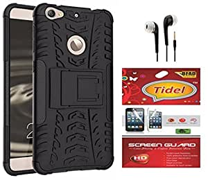 Tidel Hybrid Military Grade Armor Kick Stand Back Cover Case for Letv Le 1S (Black) With Tidel Screen Guard & 3.5mm Handsfree Earphone
