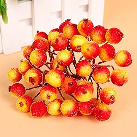 Mini Artificial Berry, DesignerBox Christmas Artificial Fruit Berry Holly Flower