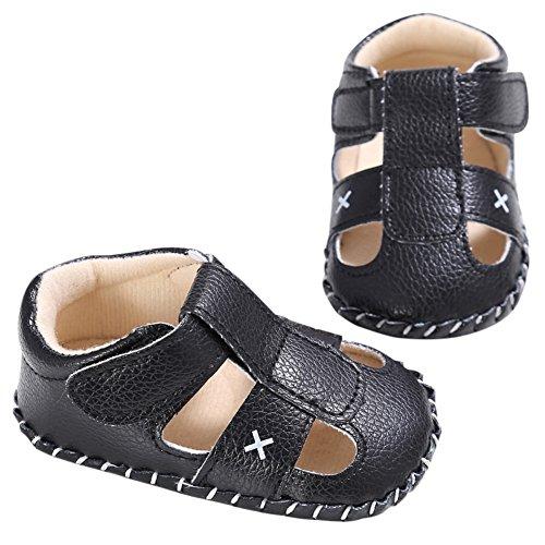 BOBORA Bebe Garcon Chaussures D'ete Soft Sandales en cuir PU pour 0-18M Noir