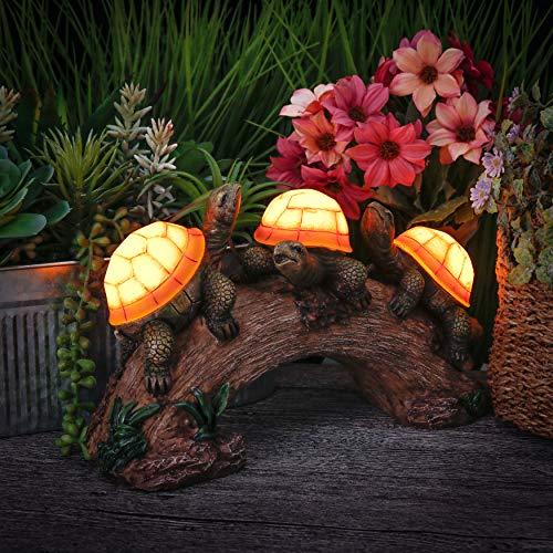 TERESA\'S COLLECTIONS Schildkröte Gartenfigur Solarleuchte 17.5cm Harz Tier Figur LED Solar Gartenleuchte für Außen Wasserfest Gartendeko für Rasen Balkon Terrasse Hof MEHRWEG Verpackung