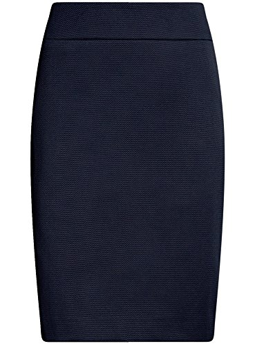 oodji Collection Damen Gerader Rock aus Strukturiertem Stoff Blau (7900N)