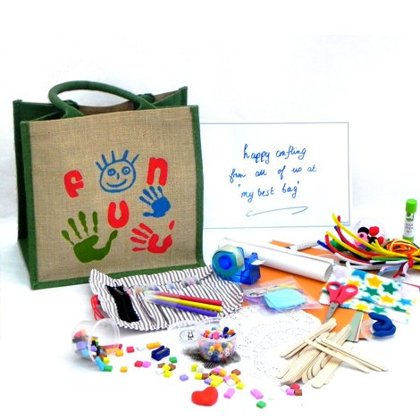 Children's Fun Craft Bag filled with Art Supplies and Craft Materials for Drawing, Gluing & Threading - includes a Filled Pencil Roll.