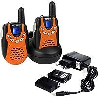 Retevis RT602 Walkie Talkie Niños Recargables PMR446 8 canales VOX función CTCSS/DCS Bloqueo de Canal Linterna Incorporada (naranja, 1 par)