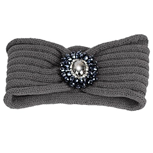 TININNA Damen Frauen Winter Vintage Strass Gestrickt Stirnbänder Crochet Strick Haarband Turban Stirnband Ear Wärmer Tiefgrau EINWEG Verpackung -