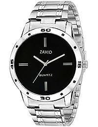 ZAVIO Black Dial Designer Metal Strap Watch For Boys