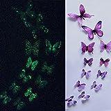 TAOtTAO 12pcs leuchtender Schmetterlings-Entwurfs-Abziehbild-Kunst-Wand-Aufkleber-Raum-magnetische Hauptdekor (Lila)