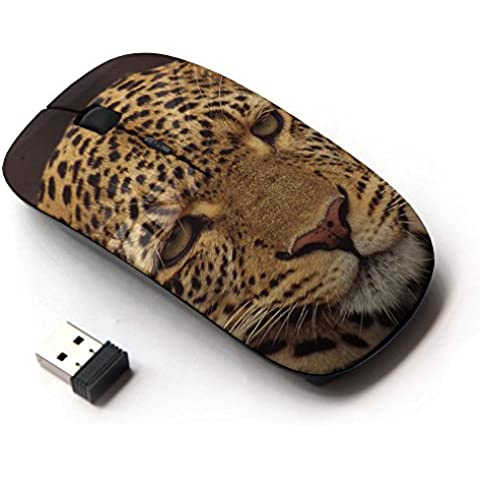 KawaiiMouse [ Mouse Senza Fili Ottico 2.4G ] Leopard Disappointed Furry Animal Wild