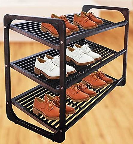 Malayas® Étagère à Chaussures en Bois 3 Niveaux Bambou Naturel Etagère Empilable Chaussures Unitaires Rangement Chaussure Porte Shoe Rack Shelves Shoes Holder Noir