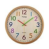 Foxtop Moderno Silenzioso Orologio da parete in colorato, 32 cm