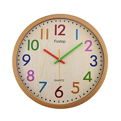 Zink-mädchen (Foxtop Modernen Kinderwanduhr Stille Nicht-tickende Wanduhr mit Farbenfrohem Design, ohne Ticken Wanduhr, (Ø) 32 cm)