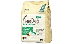 Green Petfood FarmDog Active Grainfree (5 x 900 g) | Cibo per cani senza cereali con pollo e lente rossa | Cibo secco sostenibile per cani adulti | Confezione da 5 pezzi