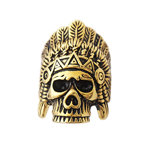 Phenovo Cool Indian Chiefs Headdress Skull Ring Men Stainless Steel Hip Hop Biker Ring Costume Jewellery - size 12