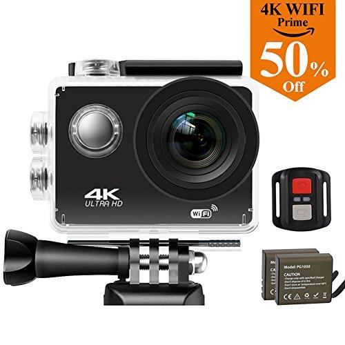 Caméra Action Sports étanches 4K Wifi, Reytour Caméra Sport 16MP Ultra HD Étanche 30M, Oeil de Requin plus Grand Angle de 170°, 2.0' LCD Ecran, Avoir Télécommande WiFi et Autre 20 Kit d'Accessoires, 2 x 1050mAH Batteries Rechargeables,...