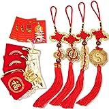 9978da2281 Set di 12 Kit di Monete Feng Shui Combinati con Nodo Cinese con Monete  Fortunate per