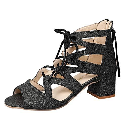 IYHENZ Mode Damen Pailletten Fischmaul Sandalen Römische Schuhe Quadratische Fersen Peep Toe Lässige Schuhe Sommer Fisch Mund Keil Schnalle High Heel Plateau Sandalen(Schwarz,35)