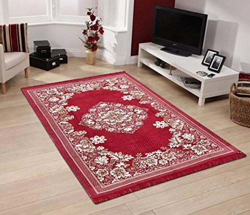 HFI Ethnic Velvet Touch Chenille Carpet - 55''x84'', Maroon