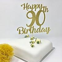 Happy 90th Birthday Cake Topper. Gold Shinny Cake Topper. Glitter Gold Birthday Decoration