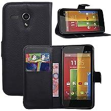 Moto G caso, HL hermanos piel sintética con tapa soporte para Motorola Moto G 1ª generación (1st Gen) 2013 Smartphone, compatible con Motorola Moto G, color Negro