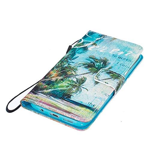 JGNTJLS - Elegante custodia protettiva a portafoglio in pelle sintetica di PU, ultra sottile e aderente, con linguetta magnetica integrata, laccetto di colore nero, scomparto per carte di credito e su Blue,Beach
