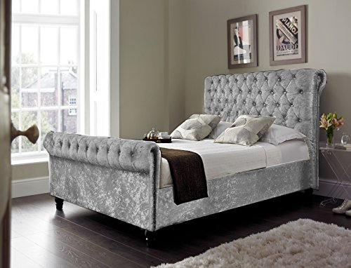 CHESTERFIELD Classy Modern Bed Frame Sleigh Style Fully Upholstered Designer bed in Crushed Velvet or Chenille Fabric (4FT 6'' Double, Crushed Velvet-GREY)