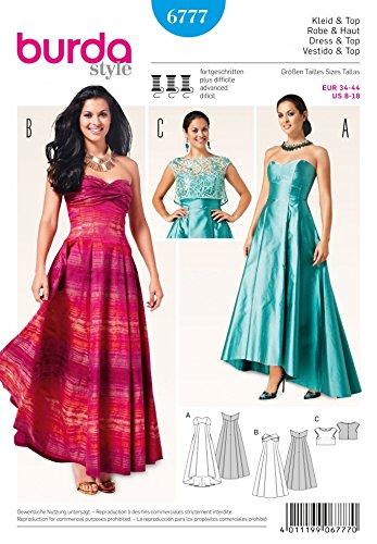 burda-patrn-de-costura-para-mujer-6777-longitud-total-para-vestidos-de-y-la-parte-superior