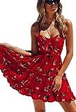 ECOWISH Damen Kleid Blumenkleid Sommerkleider Spaghetti-Bügel Bowknot Rückenfrei A-Linie Kleider Rot L