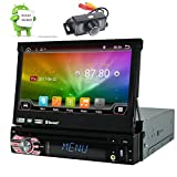 7'' Quad-core Android Autoradio Universal Sinlge Din Car CD DVD MP3 Player HD Digital Touchscreen Head Unit in Dash Bluetooth FM AM RDS Radio 2G RAM & 16G ROM GPS Navigation Stereo Support Wifi 4G/3G OBD SWC Backup Camera