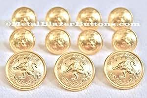 Nouveau ~or LION de laurier CREST ~métallique Blazer bouton Set ~11 pièces en métal pour un bouton s Spiderman simple Blazer, manteau Sport, veste ou uniforme ~METALBLAZERBUTTONS.CO.UK