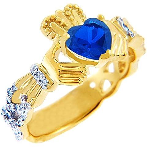 Piccoli Tesori - Anello Donna 18 Karat giallo Oro0.4 Ct Diamante Claddagh con 1.10 ct Oro 471/1000 vero blu Zaffiro