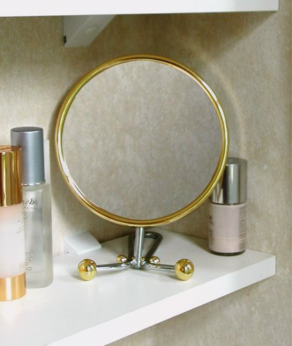 Spiegel, Metall, eine Seite mit 7-facher Vergrößerung -