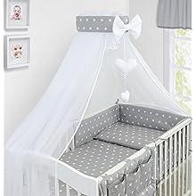 Luxury 10Pcs Baby Bedding Set COT Pillow Duvet Cover Bumper Canopy to Fit Cot Size 120x60cm 100% Cotton (Stars Grey)