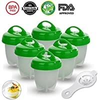Egg Cooker - 6 pcs Egg Boiler,BPA Free Silicone Egg Cooking Molds Hard Boiled Eggs without Shell (Green)