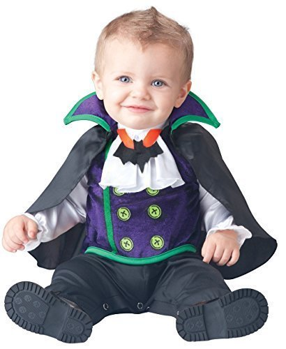 Deluxe Baby Jungen Anzahl Cutie Vampir Charakter Halloween Kostüm Kleid Outfit - Schwarz, 6-12 Months (Cutie Kostümen)