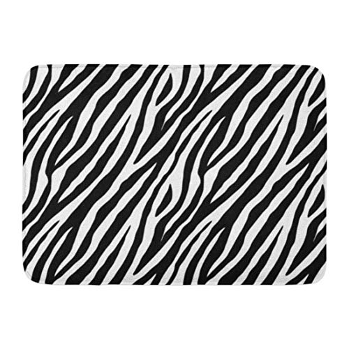 Soefipok Fußmatten Bad Teppiche Outdoor/Indoor Fußmatte Muster Zebra Haut Schwarz und Weiß Farben 2X2 Fell Tier Safari Afrika Badezimmer Dekor Teppich Badematte 2 Zebra-haut
