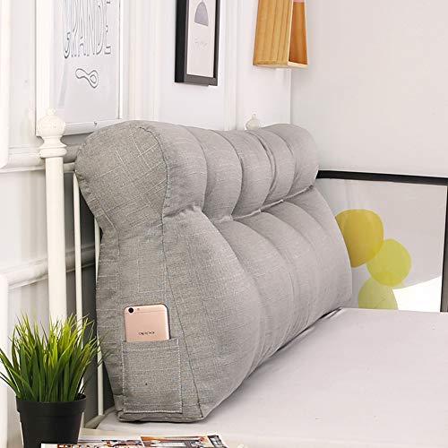 SILUQ Bett Dreieck Rückenkissen, Rückenlehne-unterstützung Positionierung Kopfteil Rückenlehne Sitzkissen Für Sofa Bett Office-grau 150x50x15cm(59x20x6inch) -