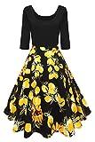 Damen schwarz petticoat kleider 50er jahre rockabilly Rockabilly Kleid Sommerkleid FS4006 Gr.M