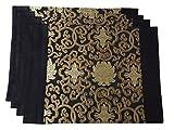 Leo's Choice Klassische Schwarz mit Gold Blume Stickerei Tischsets Set von 4