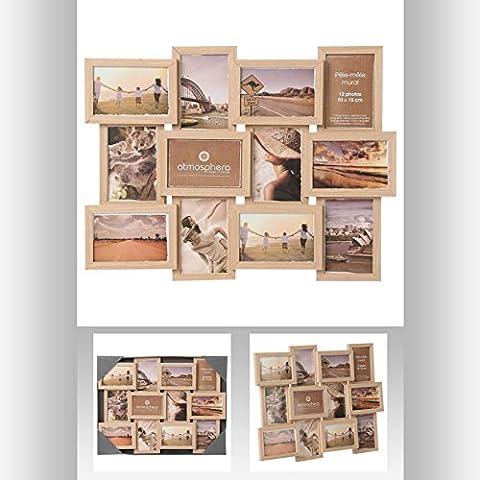 Cadre photo pêle-mêle mural - Capacité 12 photos - Coloris