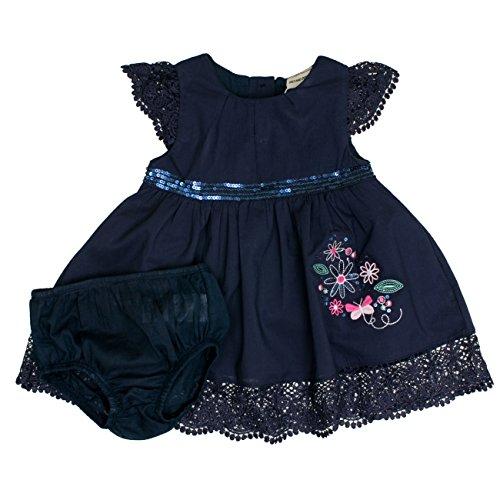 SALT AND PEPPER Baby-Mädchen Kleid B Dress Stickerei Pailetten, Blau (Original 099), 74 (Kleid Mädchen Glitzernden)