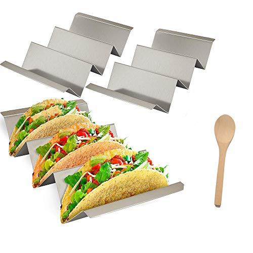 Yahpetes 3 Stück Wave Form Halter Edelstahl Taco Halter Ständer 7,4 Zoll mexikanisches Lebensmittelregal für 3 oder 4 harte weiche Taco Muscheln mit gratis Servierlöffel 2-3 Taco Shell Holder -