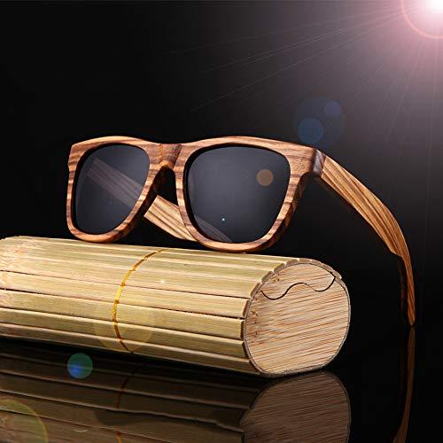 HLLHDG Wood Sunglasses Polarized Bamboo Mens Sunglass Sun Glasses Men