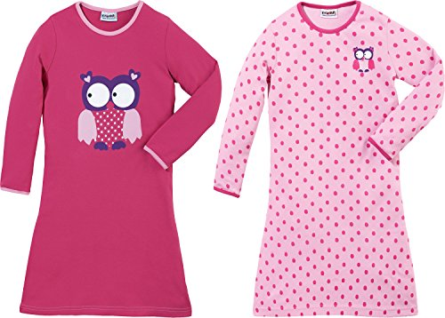 2 Pack Nachthemd (Kinderbutt Nachthemd 2er-Pack Interlock-Jersey pink Größe 122 / 128)