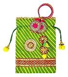 PAISLEYS Monsoon Green Potli-Bag Pouch and Bangle Loomba - for Teej, Rakhi and Mehendi Function Gifting