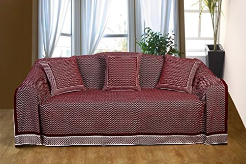 KLiving 70 x 100 cm, 60 pourcent Flamestitch Polyester 40 couvre-lit en coton Lie-de-vin/naturel