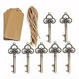 Rustikale Schlüssel und Flaschenöffner, 50 Stück, gut als Gastgeschenk für Hochzeiten, mit 50Kärtchen und Schnüren, für Gäste, Partyzubehör