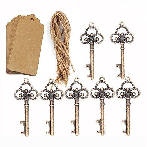 Bomboniere da matrimonio, chiave con apribottiglie con 50 bigliettini di cartone e spago, per ospiti di una festa, colore bronzo, 50 pezzi